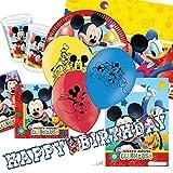 Verspielte Mickey Bumper party-Set, Teller, Becher, Servietten, Tischdecke, Wimpelkette Mickey Mouse, Haarreifen, 8 Partytüten, Luftballons, Konfetti