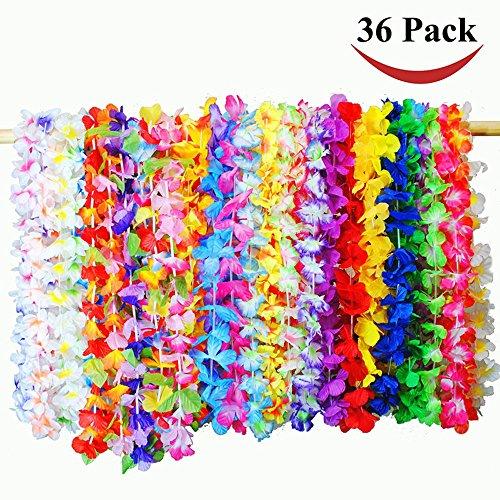 Sotoboo Hawaiianische Blumengirlande Leis Stirnband Halskette Hawaiikopf Kranz Hula für Luau Sommer Strand Party Kostüm Kleid 36 Stück