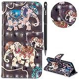 Huawei P20 Lite Hülle,WIWJ Premium Tasche Cover Handyhülle[3D lackierte Halterung Ledertasche]Brieftasche Flip Case Lederhülle Schutzhülle Handyhüllen für Huawei P20 Lite-Zwei Elefanten