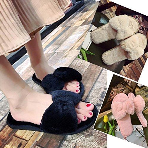 Rawdah Claquette, Chaussures Femme Mules Faux Fur Flat Bowknot Shoes Hiver Fluffy Slipper Flip Flop Noir