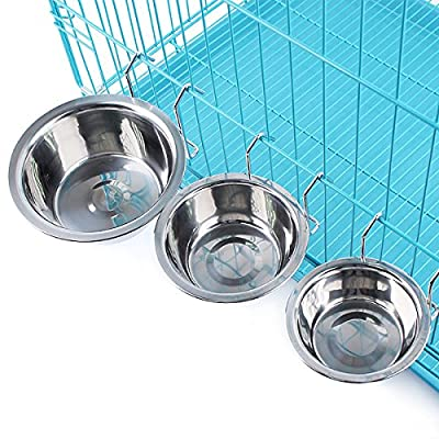 Yosoo Stainless Steel Hook on Feeding Dog Bowl Pet Rabbit Bird Cat Dog Puppy Food Water Bowl Cage Cup Crate Cup with Clamp Holder
