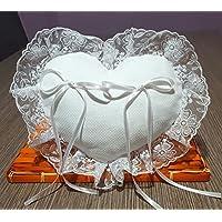 Crociedelizie, Cuscino portafedi cuscinetto fedi in tela aida rifinitura volant in organza lavorata o semplice forma quadrata, rettangolare o cuore da ricamare a punto croce