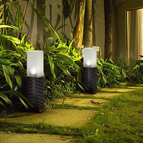 2er Pack Solar Lights Tube Stake, Gartenleuchten im Freien wasserdicht solarbetriebene Patio Pathway Light Landschaftslicht für Rasen, Terrasse, Hof und Gehweg -