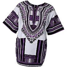 Homyl Vestido Africano para Hombres Unisex Impresiones Vestido Algodón Dashiki Camisa Étnico Caftán - Púrpura