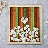Vintage Hochzeitsgästebuch Alternative hören Auswahlfeld Custom Namen und Datum Rustikal Holz Hochzeits Gästebuch Bilderrahmen 40 x 50 cm with 150 hearts