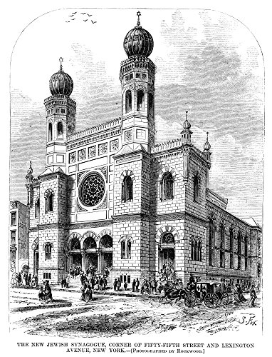 New York: Synagogue 1872. /Nthe Jewish Synagogue On The Corner of 57Th Street and Lexington Avenue In Manhattan New York. Wood Engraving American 1872. Kunstdruck (60,96 x 91,44 cm)