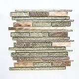 Fliesen Mosaik Mosaikfliese Glas Stein beige glänzend Küche Bad WC 8mm Neu #627