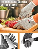 DIKETE® Cut Resistant Kitchen Gloves High Performance Level 5 Hand Protection Food Grade Cut Proof Glove Comfortable Lightweight Wear Resistant Industrial Safety Work gloves (1Pair) (Large)