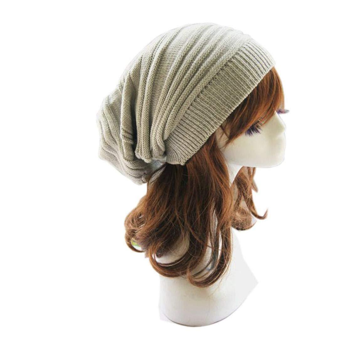 529973a027a Yuutimko Unisex Women Men Knit Crochet Baggy Beanie Beret Winter Warm  Oversized Ski Cap Hat