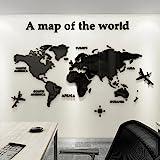 3D Acrílico DIY Mapa del Mundo Mundi De la Pared Murales Etiquetas Etiqueta Sala Salón Oficina Fondo Pegatinas Creativa Decor