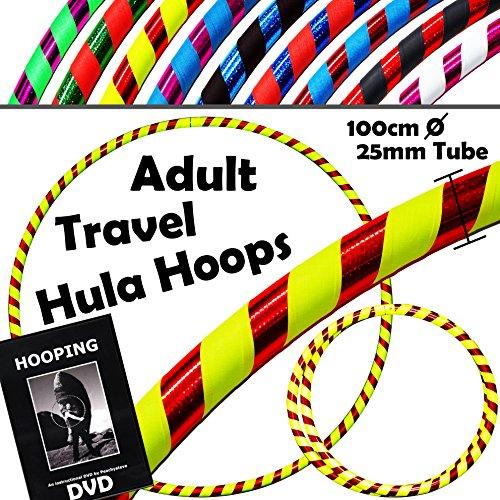 PRO Hula Hoops (Ultra-Grip / Glitter Deco) Gewichtetes TRAVEL Hula Hoop + Hooping DVD - (100cm / 39