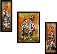 SAF UV Textured Radha Krishna Print Framed Painting Set of 3 for Home Decoration – Size 35 x 2 x 50 cm