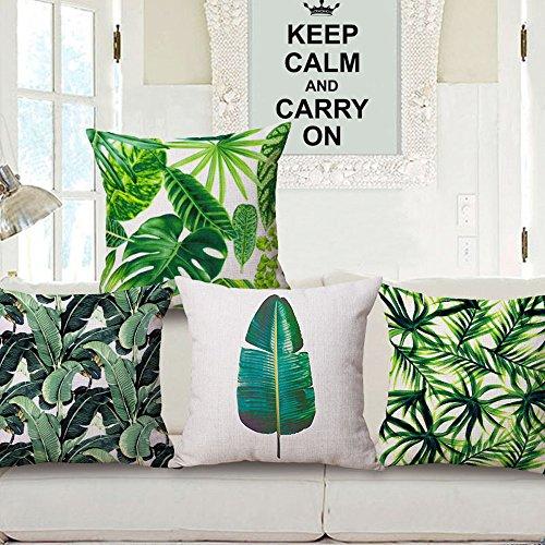 Baumwolle Leinen Überwurf Kissen Fall, grüne Blätter Print Kissenbezug für Sofa, Couch, Lounge, Bett, Stuhl, Auto Sitz, 45,7x 45,7cm #5 -