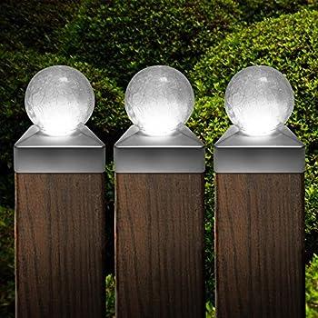 Metal and Glasses Bronze CHEEKON 4 x 4 Solar Post Cap Lights Wood Post Fence Post Cap Outdoor Garden Yard Deck Street Top Wall 4 X 4