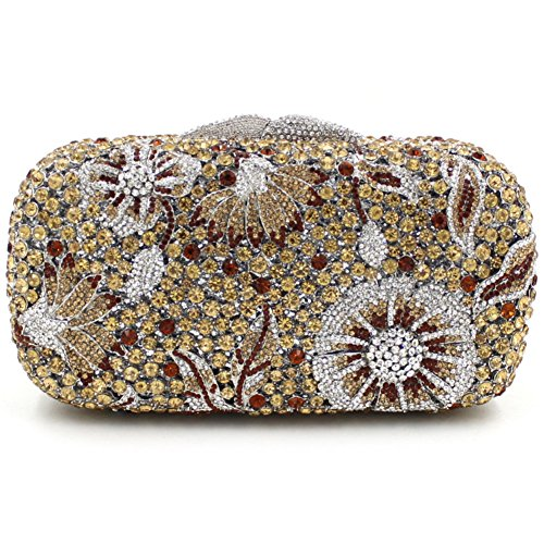 Damen Clutch Abendtasche Handtasche Geldbörse Glitzertasche Strass Kristall Cocktail Tasche mit wechselbare Trageketten von Santimon(18 Kolorit) Gelb 01