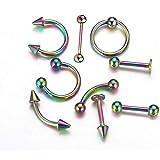 EVBEA 8 PZ Piercing Naso Uomo Acciaio Inossidabile 20G Piercing Trago Orecchini Acciaio Chirurgico Cerchio Cartilagine Daith