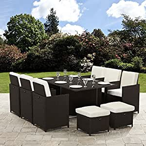 11 Piece / 10 Seater | PE Rattan Cube Table, Chair, Stool Set | Garden Furniture (no parasol, Brown)