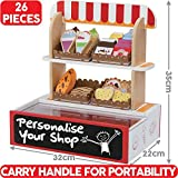 Bee Smart -Play Shop Supermarket with kids play food - includes 26 Pieces and pretend play food - Wooden Toy Shop