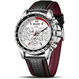 MEGIR Men Analog Luminous Casual Fashion Quartz Watch with PU Strap Big Dial Calendar for Business Work School Outdoor