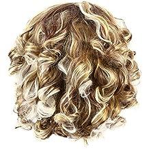 Frcolor Peluca ondulada corta peluca rizada corta del pelo rubio de las mujeres para la decoración