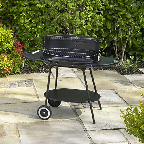 614QU2Hp5ZL. SS500  - Kingfisher BBQ5 Oval Steel Trolley BBQ - Black