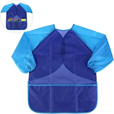 NUOLUX Waterproof Long-Sleeved Art Smock Painting Apron for Children Kids(Blue)