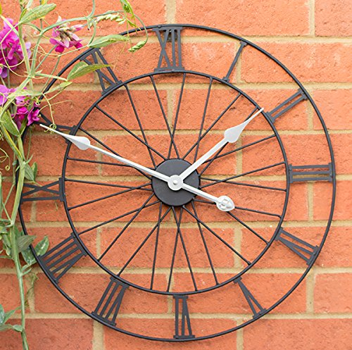 Rad Metall Garten-Uhr in einem schwarzen Finish lackiert–Moderne Wanduhr–50cm