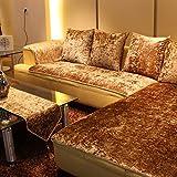 Gerald Flanell Sofa slipcover, Stilvolle Sofa Deckel Schild Plüsch mikrofaser sektionaltore Flanell Anti-rutsch Maschine waschbar-Gold 60 x 60cm