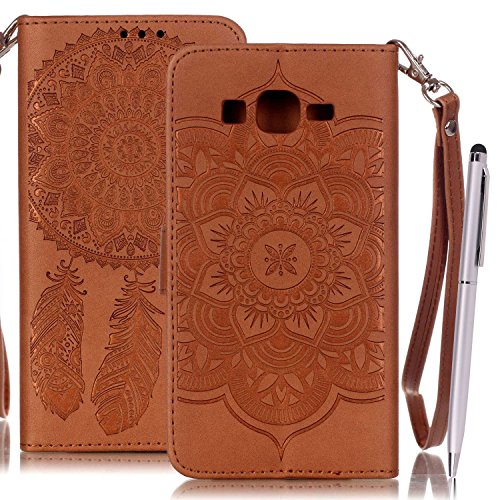 Etui Samsung Grand Prime , Anfire Attrape Reve et Henna Mandala Sun Lace Tribal Vintage Motif Peint Mode PU Cuir Étui Coque pour Samsung Galaxy Grand Prime SM - G530F G530FZ G530H G530FZ / DS (5.0 pou Marron
