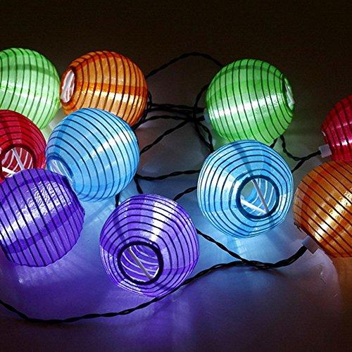 SunJas Solar Lichterkette 20 LEDs 4,8 Meter / 30 LEDs 6 Meter Lampions Laterne wasserfest Lichterkette Garten Innen- und Außenbereich warmweiß kaltweiß blau bunt für Party Weihnachten Outdoor Fest Deko usw. (30 LEDs bunt)