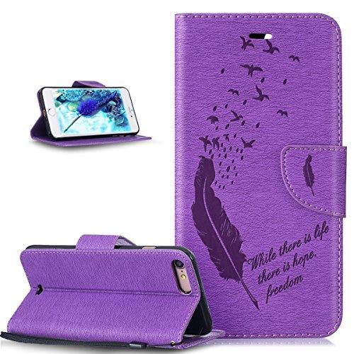ikasus Coque iPhone 8 Plus/7 Plus Etui Gaufrage Motif Gaufrage Oiseaux de plume Housse Cuir PU Etui Housse Coque Portefeuille supporter Flip Case Etui Housse Coque pour iPhone 8 Plus/7 Plus,violet