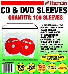 Premium Humlin Cd Sleeve 120 Micron With Flap Cd Dvd Sleeves 100 Pack