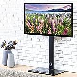 FITUEYES universal TV Bodenständer Glas für 32 bis 50 Zoll LED LCD TV höhenverstellbar schwenkbar schwarz TT106001MB
