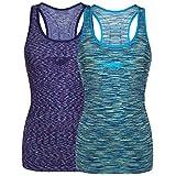 Bongual Damen Funktiontop Slim Fit Running-Tanktop Sporttop mit Ringerrücken für Yoga, Fitness, Laufen 36-38, Kobalt+Blau
