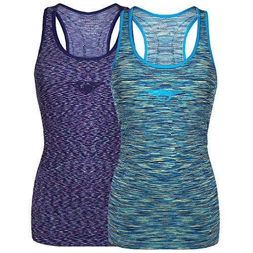 Bongual Damen Funktiontop Slim Fit Running-Tanktop Sporttop mit Ringerrücken für Yoga, Fitness, Laufen (34/36), Kobalt+Blau