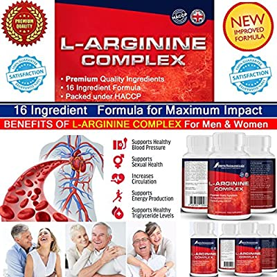 #1 Extra Strength L-Arginine Complex for Women & Men ?16 Powerful ingredient Formula for Maximum Impact ?Supports Healthy blood pressure ? Supports healthy cholesterol ? Supports energy levels? Supports muscle development? Supports healthy Artery function
