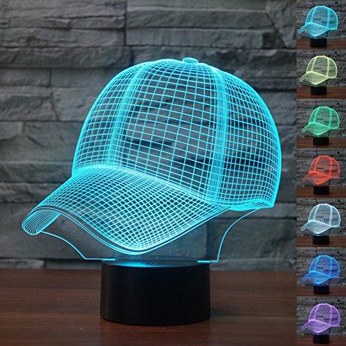henk Magie Baseballmütze Lampe 3D Illusion 7 Farben Touch-schalter USB Einsatz LED-Licht Geburtstagsgeschenk und Party Dekoration (Erstaunliche Mütter Halloween-party-ideen)
