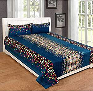 Hiyanshi Home Furnishing Microfiber 180TC 1 Bedsheet With 2 Pillow Covers ( Full, Multicolour)