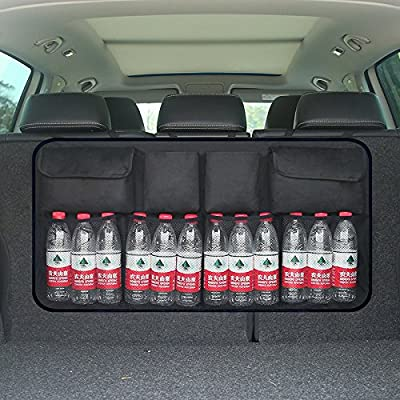 Hete-supply Car Boot Storage Organiser Multi Pocket Car BackSeat Organizer Waterproof Oxford Car Backseat Trunk Organizer with Adjustable Straps, Velcro