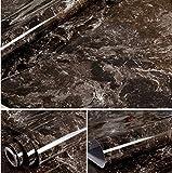 wdragon dunkelbraun Marmor Folie, selbstklebend, glänzend, Vinyl, Küche zinntheken Abziehen Stick Tapete Aufkleber 61x 200,7cm braun