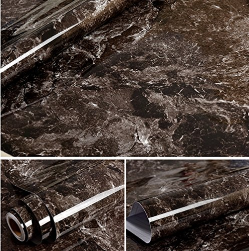wdragon dunkelbraun Marmor Folie, selbstklebend, glänzend, Vinyl, Küche zinntheken Abziehen Stick...