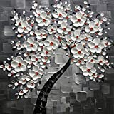 KateHome PHOTOSTUDIOS 60x60cm Handbemalt Ölgemälde weiß Blumen grau Artwork Floral Ölbild Gemälde auf Leinwand Modern Pop Art Wand Home Decor für Wohnzimmer Esszimmer Schlafzimmer