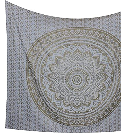 Kesrie Wall hanging tapestry art décor gold print boho hippie indian lotus throw (Happy Tree Friends Christmas Lights)