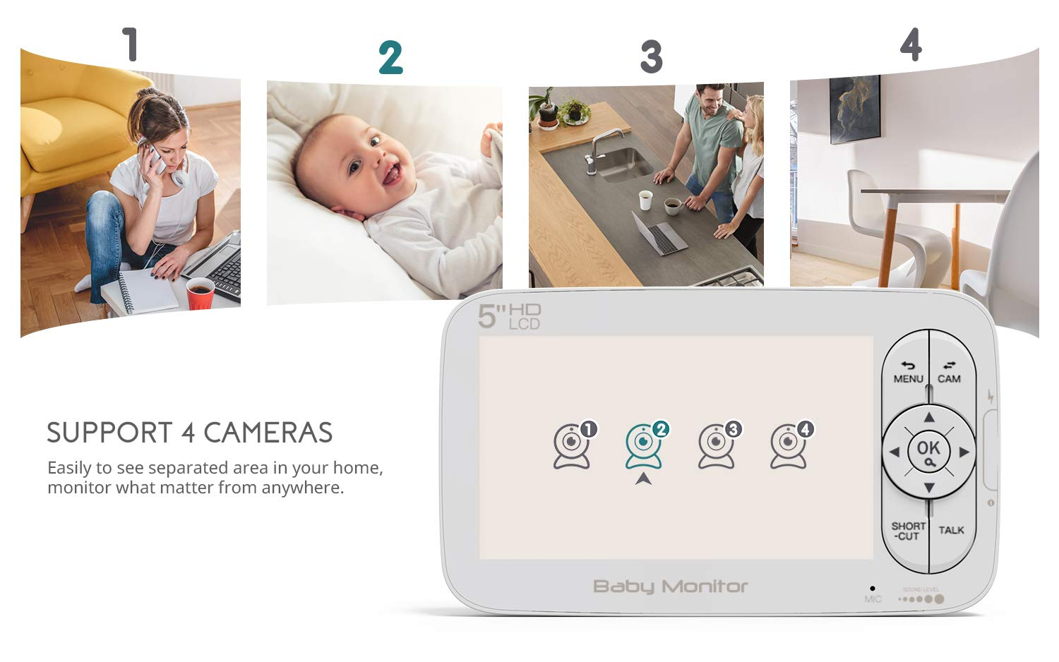 "Baby Monitor, COOAU 5"" Wireless Video Baby Monitor with 1280x720P HD Screen, 2000mAh Rechargeable Battery, Support Two-Way Audio, Infrared Night Vision, Temperature Monitor, 2.4GHz Safe Connection COOAU 👶 5"" 1280*720P HD LCD Screen with 1 Million Pixel Camera: COOAU baby monitor comes with a high quality screen and camera, bring a crystal clear view, no grainy and washed out, even in dark. 👶 Pan Tilt & 2X Zoom-in: You can adjust the angle via 355*120 degree pan/tilt remote control, zoom right in and see if your baby's eyes were opened or closed without any issue. 👶 Infrared Invisible Night Vision: Using 940nm infrared light, effectively protect your baby's eyes. Up to 5 meters night vision viewing distance, pick up images of your baby in dark or low light conditions. 7"