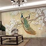 Mbwlkj Tapete 3D Foto Tapete 3D Wohnzimmer Schlafzimmer Tv Hintergrund Wand Vogel Pfau Magnolie Große Wandbilder 3D Tapete-200cmx140cm