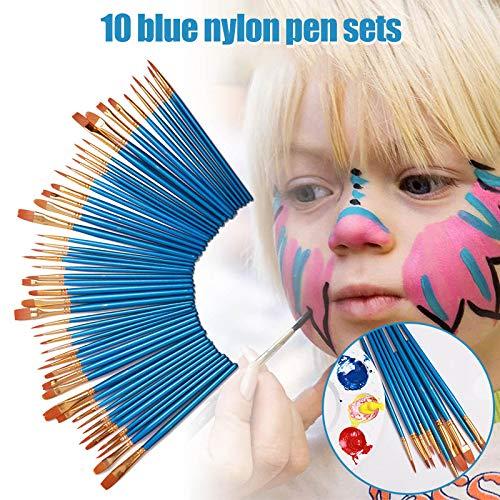 Tenflyer 10 Stück Kinder Pinsel Blau Runde Spitze Nylonhaarbürste Set Zeichnung Aquarell Stift