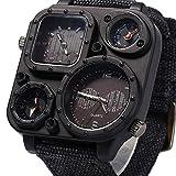 GXWFUI Uhren Männer Militär Multifunktionsuhr Dual-Zeitzone Display Kompass Outdoor-Sportuhr,Black