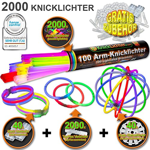 2000 Knicklichter 7-FARBMIX Testnote: 1,4 \'SEHR GUT\' inkl. 2080 Verbindern