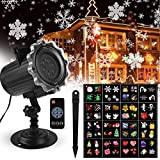 Projecteur LED Extérieur et Intérieur, FOCHEA IP44 Projecteur de Lumière avec 16 Diapos de Fêtes et Télécommande, Images Claires et Lumineuses pour Halloween/Noël/Anniversaire/Mariage/Soirée