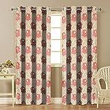 Famekart Royal Purple Floral Window & Door Curtain (Pack of 2 Curtains) (Long Door - 9 Feet)